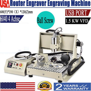 Usb 4 Axis 1 5kw 6040 Cnc Router Engraver Mill Carving Engraving Cutter Machine
