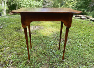 Vintage Tiger Maple Porringer Top Tea Table Queen Anne Style Hand Made C1970