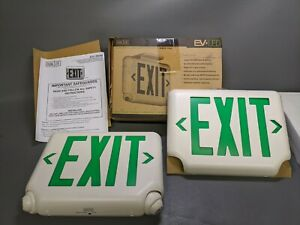 Hubbell Dual lite Evcugw Exit Sign With Emergency Lights Green 2d