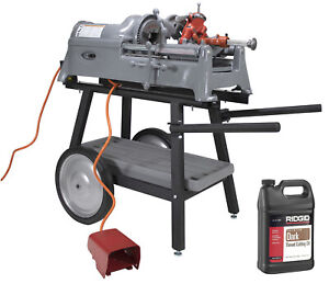 Reconditioned Ridgid 535 V1 Pipe Threader With Cart And Die Head And Oil