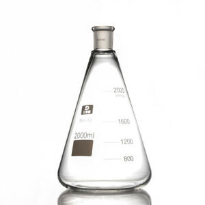 2000ml Glass Erlenmeyer Flask Conical Bottle Chemistry Laboratory Glassware