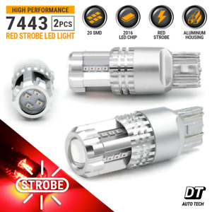 New Syneticusa 7443 Red Led Strobe Flashing Tail Brake Stop Parking Bulbs Light