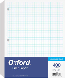Oxford Filler Paper 8 1 2 X 11 4 X 4 Graph Rule 3 hole Punched Loose leaf