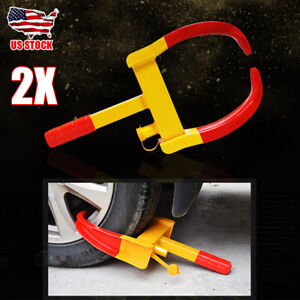2x Wheel Lock Clamp Boot Tire Claw Trailer Car Truck Anti Theft Towing Protector