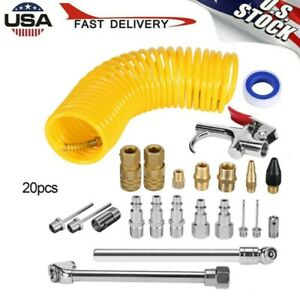 20 Pcs Air Compressor Accessory Kit Tool 25ft Recoil Hose G Un Nozzles Set Sale