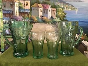 (4). Coca Cola Mugs/Glasses 2 with Handles Heavy Green Tinted Glass