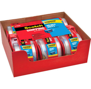 Scotch Heavy Duty Shipping Packaging Tape With 6 Rolls 1 88 X 800 Inches