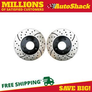 Front Drilled Slotted Brake Rotor Pair For 2011 2016 2017 Camry 2012 2018 Avalon