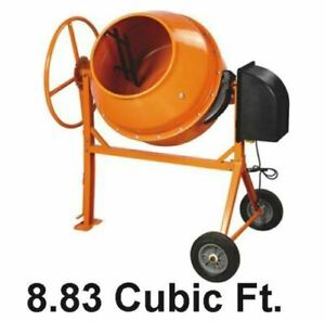 Cement Mixer Concrete 8 83 Cu Ft Electric 1 3 8 Hp Motor 270 Lb W tri Stand