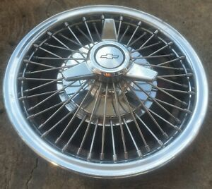 1 Rare 1964 1966 Chevy Impala 14 Wire Spoke Spinner Hubcap Wheel Cover 0c