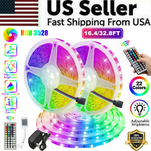 16ft 32ft Waterproof Flexible 3528 Rgb Led Smd Strip Light Remote Room Party 300