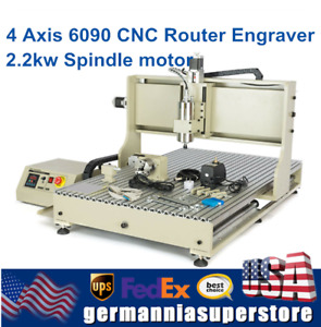 4 Axis 6090 Cnc Vdf Router 3d Engraver Milling Engraving Machine 2 2kw Usb Top