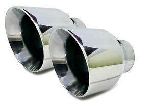 Two Round Exhaust Tips 2 5 Bolt On Stainless Steel Dual Wall