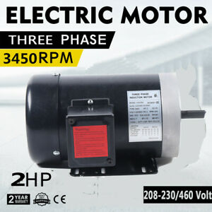2hp Electric Motor 5 8 General Purpose Tefc Three Phase 230 460v 56c 3450 Rpm