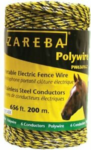 Zareba Pw656y6 z Polywire 200 meter 6 conductor Portable Electric fence Rope