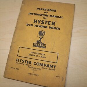 D7n Cat Caterpillar Tractor Hyster Winch Owner Parts Manual Operator List Book