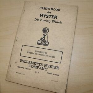 D8 Cat Caterpillar Tractor Hyster Winch Owner Parts Manual Maintenance Book Hr