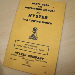 D9a Cat Caterpillar Tractor Hyster Winch Owner Parts Manual Maintenance Book Jra