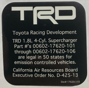 Toyota Trd Supercharger 1 8l Carb Sticker Eo D 425 13 Matrix Corolla Celica