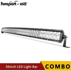 50inch 288w Curved Led Work Light Bar Spot Flood Driving Offroad Bar Atv Ute 4wd