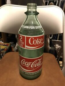 1970's Coca Cola Vintage 2 Liter Bottle Green Coke