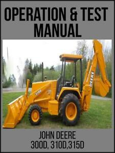 John Deere 300d 310d 315d Backhoe Operation Test Technical Manual Tm1496 Usb