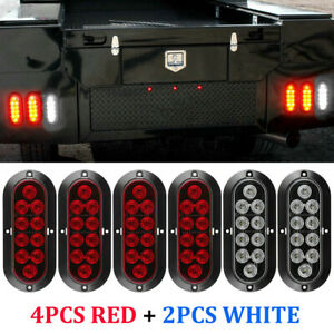6 10led Oval Stop Turn Tail Backup Reverse Tail Lights 4 Red 2 White For Truck