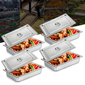 4pack 4 deep Full Size Stainless Steel Steam Table Pans lids Hotel Food Prepnew