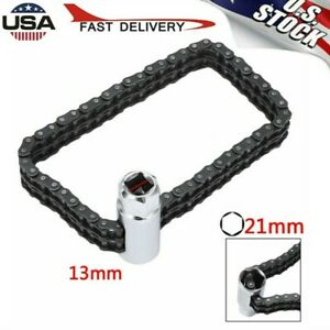 Universal Car Heavy duty Oil Filter Strap Wrench Chain Removal Tool 1 2 Drive