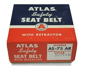 New In Box Vintage Atlas Safety Seat Belt With Retractor Royal As 75 Ar