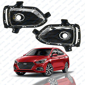 For 2018 2019 Hyundai Accent Front Left Right Side Fog Lamp Bezel Covers 2pcs