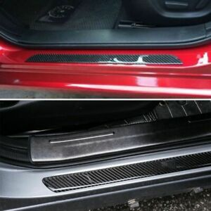 Car Stickers Parts Accessories Carbon Fiber Door Sill Protector Scuff Plate Trim