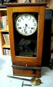 Vintage Simplex Time Recorder Clock Complete Original Glass 31 Inches