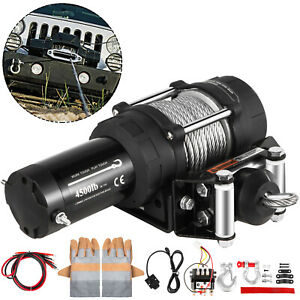 4500lb 2041kg Electric Winch 12v Trailer Steel Cable Off Road For Boat Suv 4wd