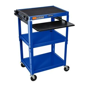 Adjustable Height Blue Metal A v Cart W Pullout Keyboard Tray