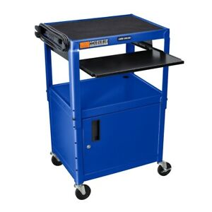 Adjustable Height Blue Metal A v Cart W Pullout Keyboard Tray And Cabinet