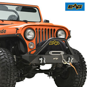 Eag Black Stubby Front Bumper With Winch Plate Fits 76 86 Jeep Wrangler Cj