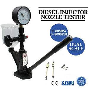 600bar 8000psi Fuel Test Diesel Injector Nozzle Tester W Dual Scale Gauge 60mpa