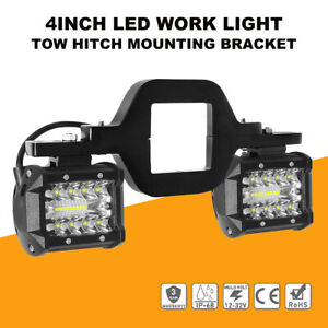 Tow Hitch Mounting Bracket 4 Combo Led Work Light Bar Backup Reverse Truck