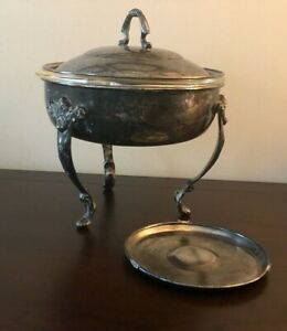 Round Pedestal Silver Plate Covered Casserole W Round Fire King 2 Qt Glass Insrt