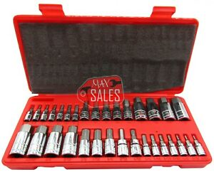32pc Master Hex Bit Set Sae Metric Socket Set Standard Allen 1 4 3 8 1 2