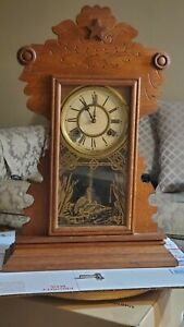 Antique Waterbury 8 Day Gingerbread Mantel Mental Or Wall Clock