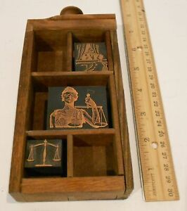 Vintage Letterpress Print Block And Display Drawer Lawyer Attorney