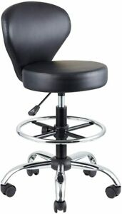 Klasika Drafting Chair Rolling Swivel Salon Stool With Back Support Foot Rest