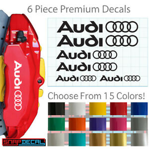 6 Vinyl Decals Fits Audi Brake Calipers Heat Resistant Stickers 3 Sizes