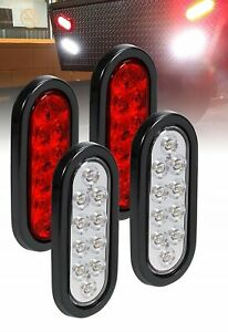 2x Red 2x White 6 Oval 10 Led Trailer Truck Stop Turn Tail Lights 12v