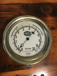 Brass Pressure Gauge 6 1 4 Dia Marsh Co Pacific Boiler Vintage