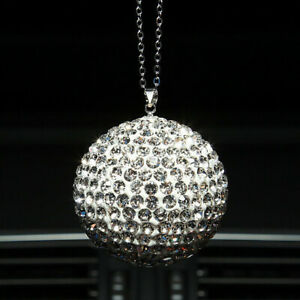 Small Car Rear View Mirror Pendant Crystal Ornament Bling Hanging Ball Gifts