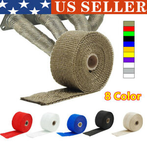 2 80 2m Roll Black Fiberglass Exhaust Header Pipe Heat Wrap Tape 5 Ties Kit