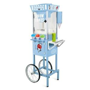 Nostalgia Snow Cone Machine Cart 575 Oz Removable Drip crumb Tray Blue